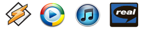 Winamp, Windows Media, iTunes, Real Player